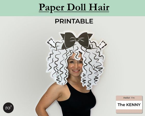 GREY Paper Doll Hair, Paper Mask, Paper Doll Costume, Papercraft Mask, DIY Costu...