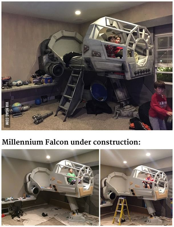 This father built his son a Star Wars Millennium Falcon bed.  #Bed #MillenniumFa...