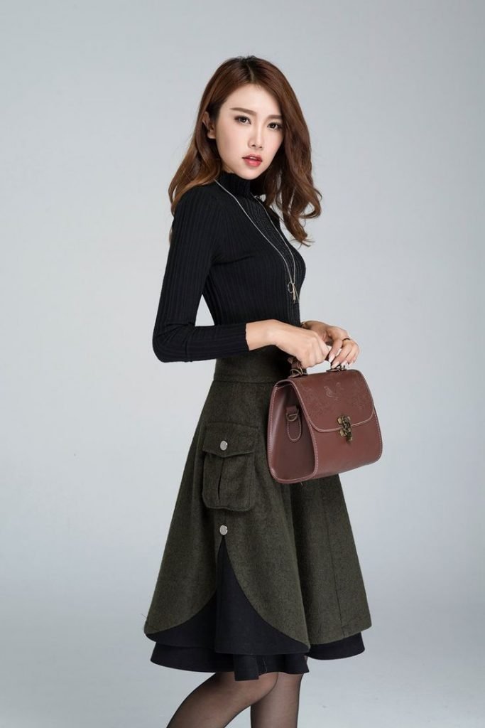 Short wool skirt winter skirt layered skirt skater skirt image 1