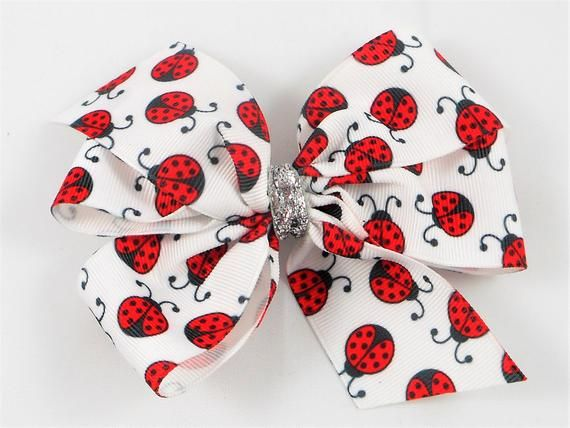 Ladybug Boutique Hair Bow, 5 inches wide