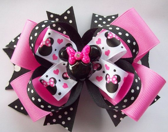 diy minnie mouse hair bow | Pink and Black Miss Magical Mouse Minnie Boutique Ha...