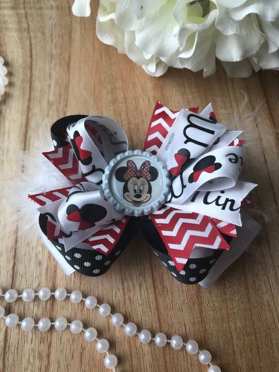Minnie Mouse Red Boutique Hair Bow Get ready for Disney | Etsy