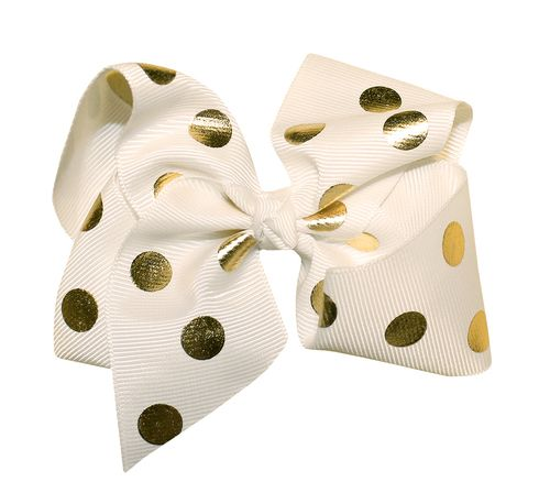 """WD2U Girl 6"""" Large Polka Dotted GrosGrain Boutique Hair Bow French Clip Barrette"""