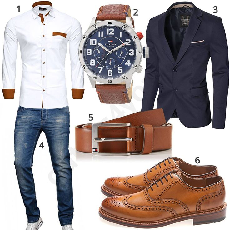 Business Outfit for Men with White Reslad Shirt, Tommy Hilfiger Wrist Watch ...