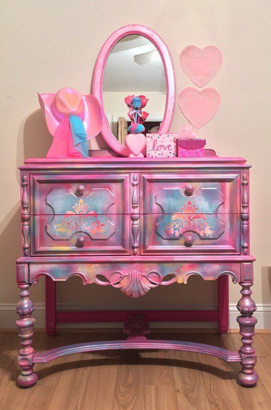 Kids dresser pink dresser painted furniture modern girls | Etsy
