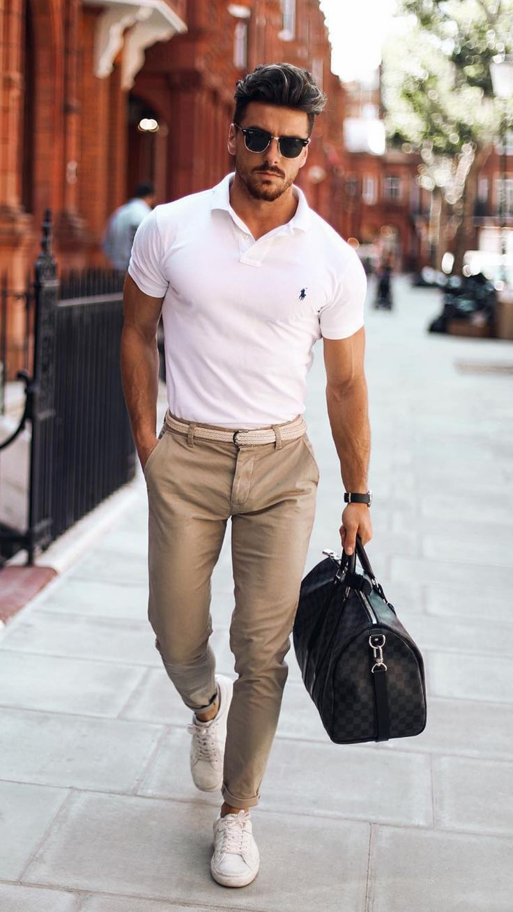 White polo shirt outfit ideas for men #polo shirt #shirt #outfitideas #mens ...