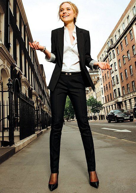 Combine a black jacket with a black suit trousers and you will ...