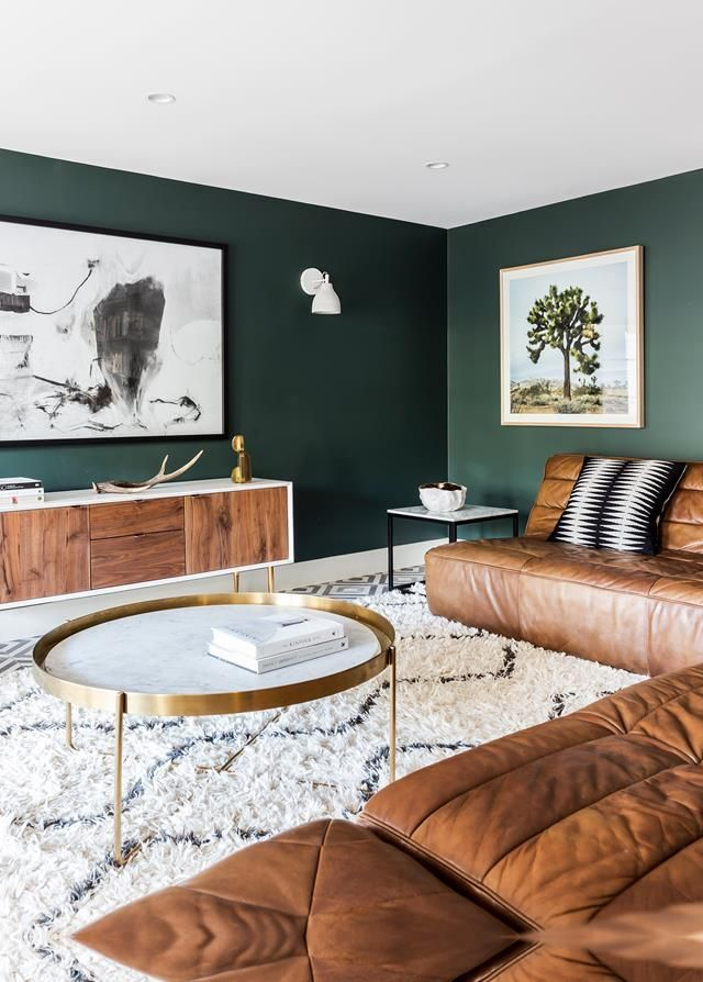Living room decor ideas, green wall paint, green living room, modern living room ...
