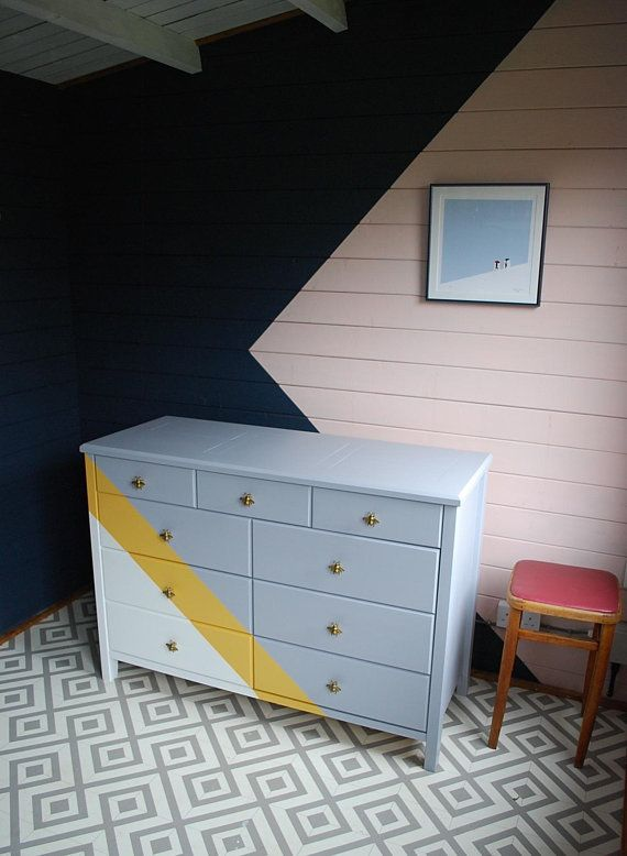 SOLD * Painted chest of drawers, grey white and yellow, bee knobs and lining pap...