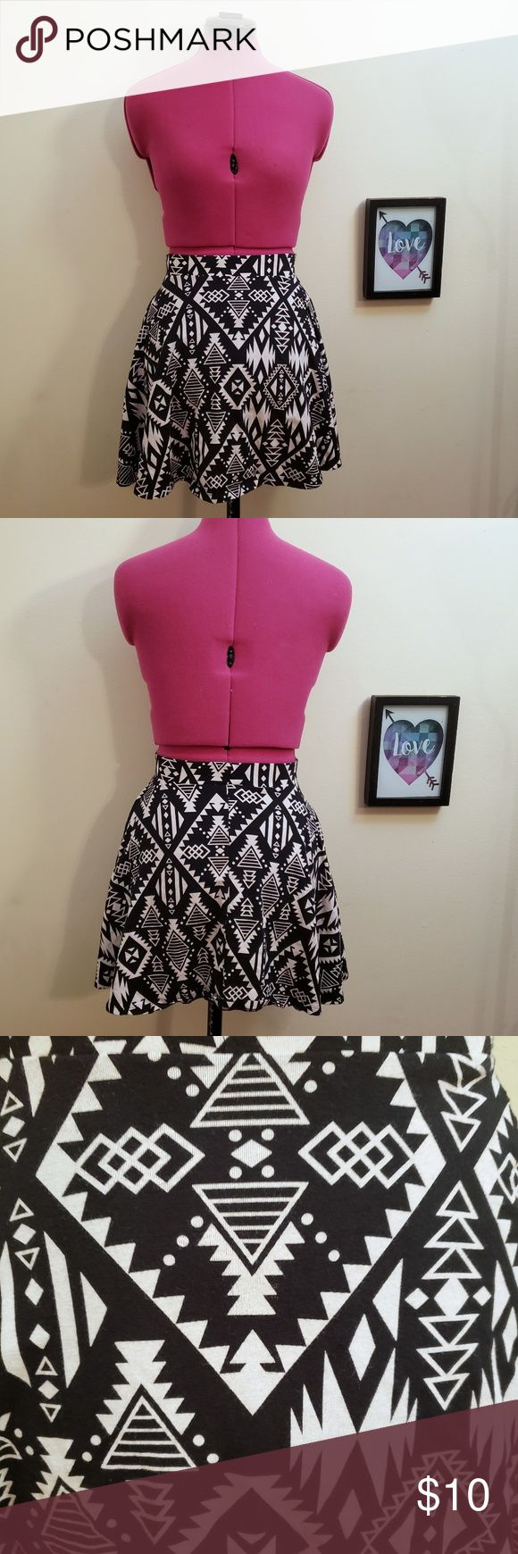 ♧ PINK Brand Geometric Skater Skirt Black and white skater skirt by PINK with ...