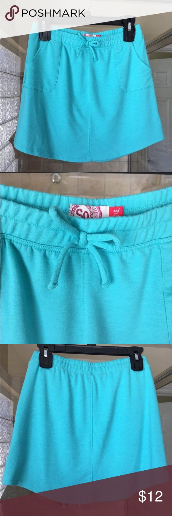 Girls SO Turquoise Size 16 Tie-Front Skater Skirt Girls SO Size 16 Tie-Front Fre...