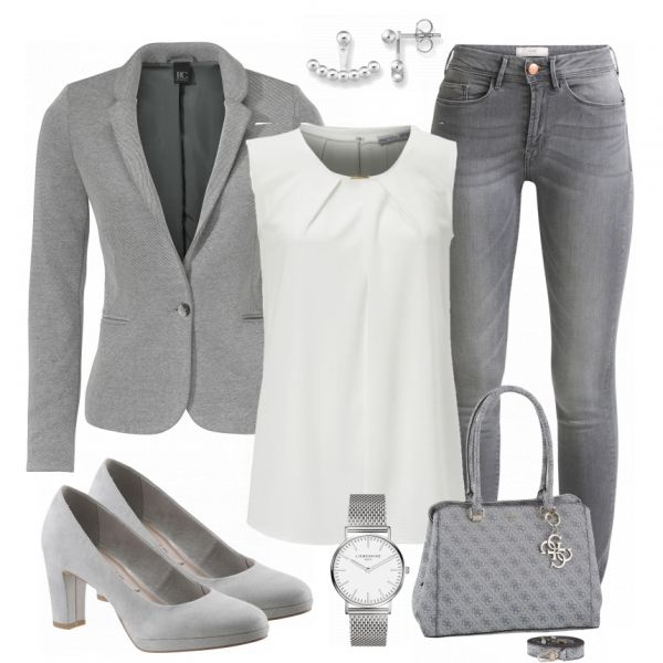 Beautiful business look made of gray blazer, white blouse and gray jeans .... #fas ...