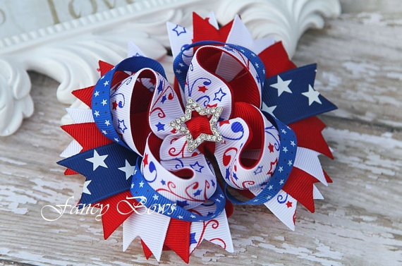 Patriotic Star Spangled Stacked Boutique Hair Bow by fancybows, $9.50
