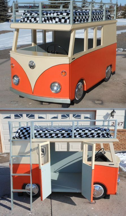 VW Bus Bunk Bed and Playhouse ~ Design / Pictures © Uptonb