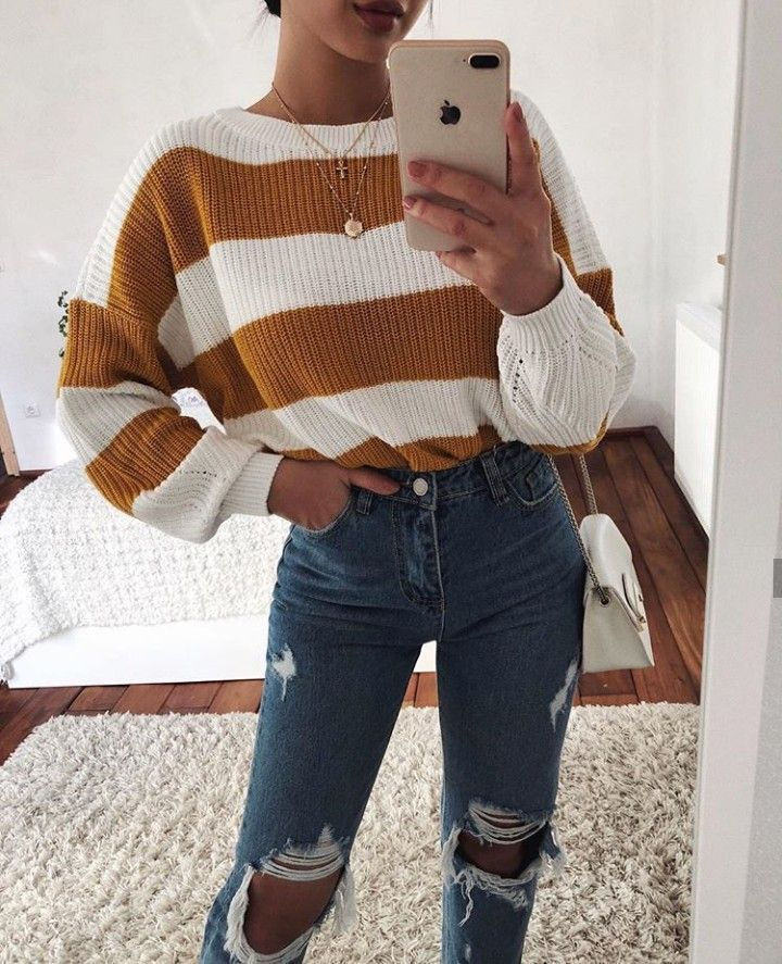 Yellow and white striped sweater with ripped high waist jeans. Visit the outfit ...