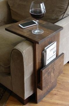 Sofa chair armrest tray table stand with side storage for time ...