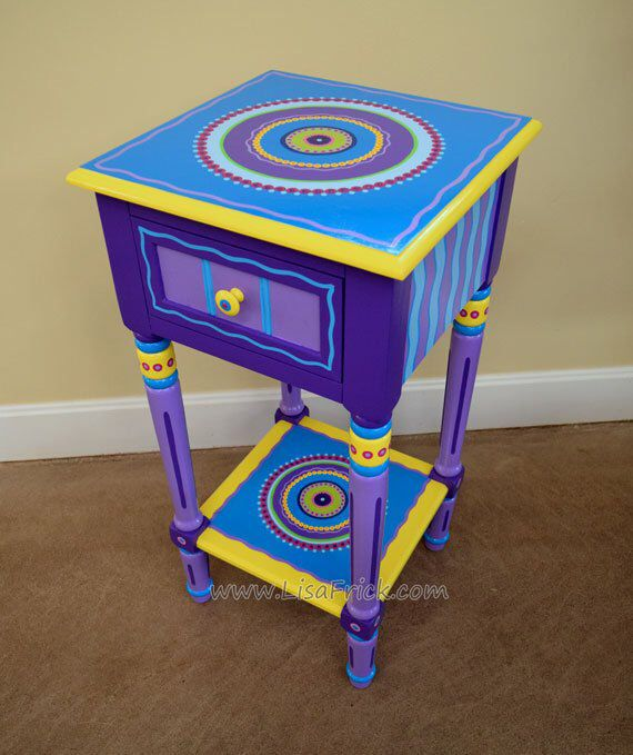 Hand Painted Mandala Side Table | Hand Painted Accent Table | Hand Painted Furni...