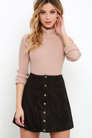 Suede My Day Black Suede Skirt -   #