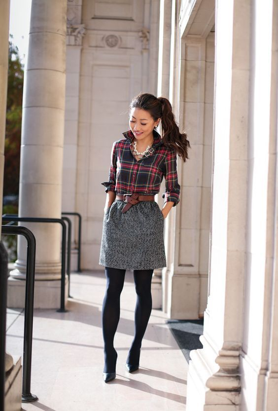 15 cute plaid shirt outfits for the winter #plaid #cute #outfit ...