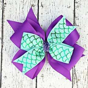 Purple Mermaid Scales Hair Bow, Girls Bows, Birthday Party Favors, Gift for Girl...