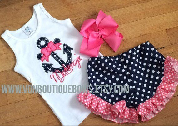 Anchor Navy Hot Pink polkadot Ruffle Shorts set Matching Boutique Hair Bow 6 12 ...