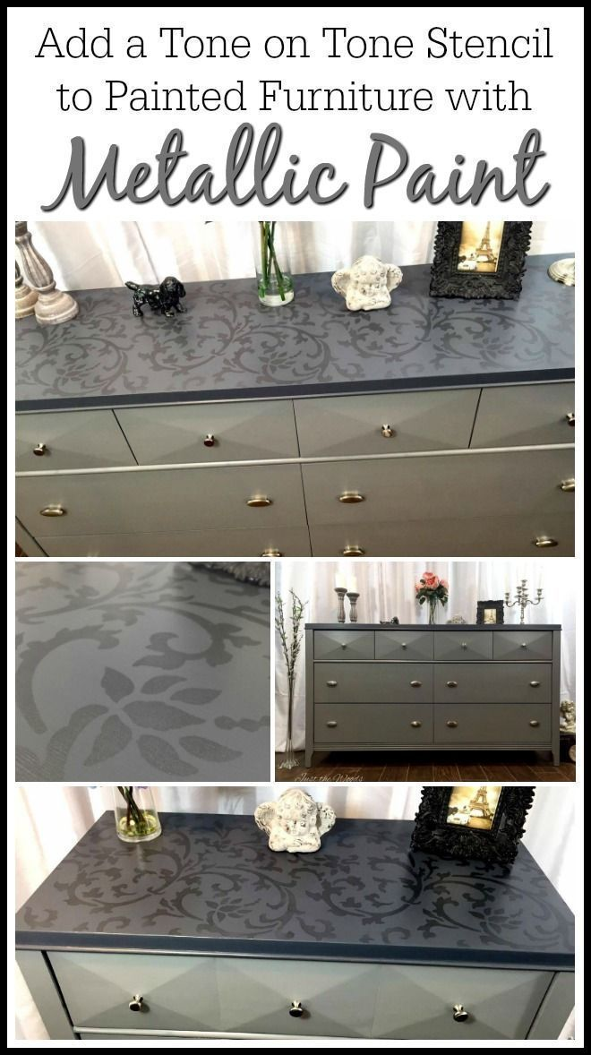 Add a tone on tone stencil to painted furniture using metallic paint for an adde...