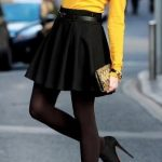 Classic black skirt outfit idea for spring 2014,Black Skirt, Yellow Top, Black T...