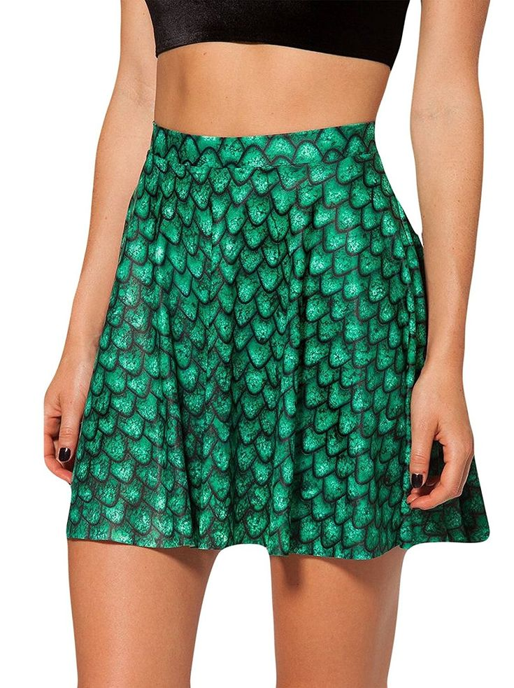 Women's Clothing, Skirts, Women's Flared Stretch Soft Green Mermaid Print Pleate...