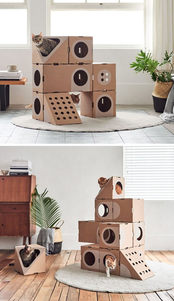 The design studio A Cat Thing has created a funny cat furniture made of cardboard, ...