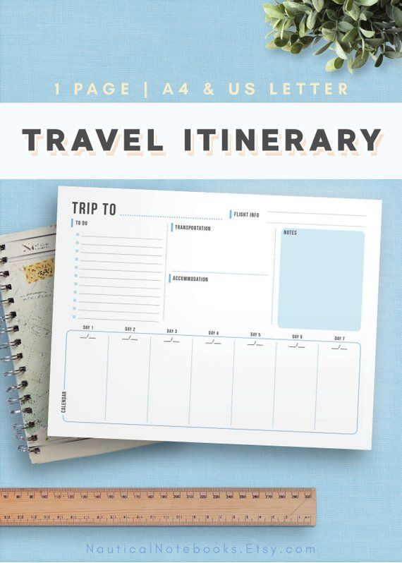 Travel Itinerary Template | Family Travel Planner | Printable Itinerary | Vacati...