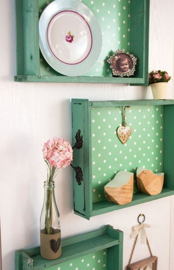 shabby chic shelves in green, plate, photo, vase, souveniers