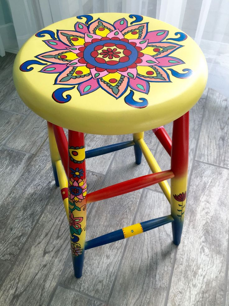 Whimsical, Funky Painted Bar Stool #paintedfurniture | Projects