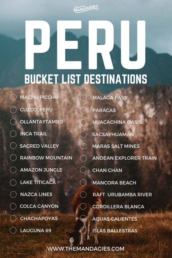 Peru Destination Bucket List. Save this pin for South America Insp ...