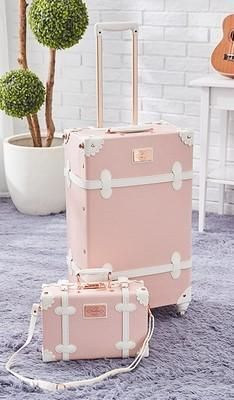 Vintage Look Spinner Luggage & Carry On Travel Bag Set  (3 styles)