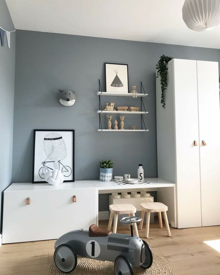 Like the gray walls with closet doors in white with leather handles- Like the gray ...