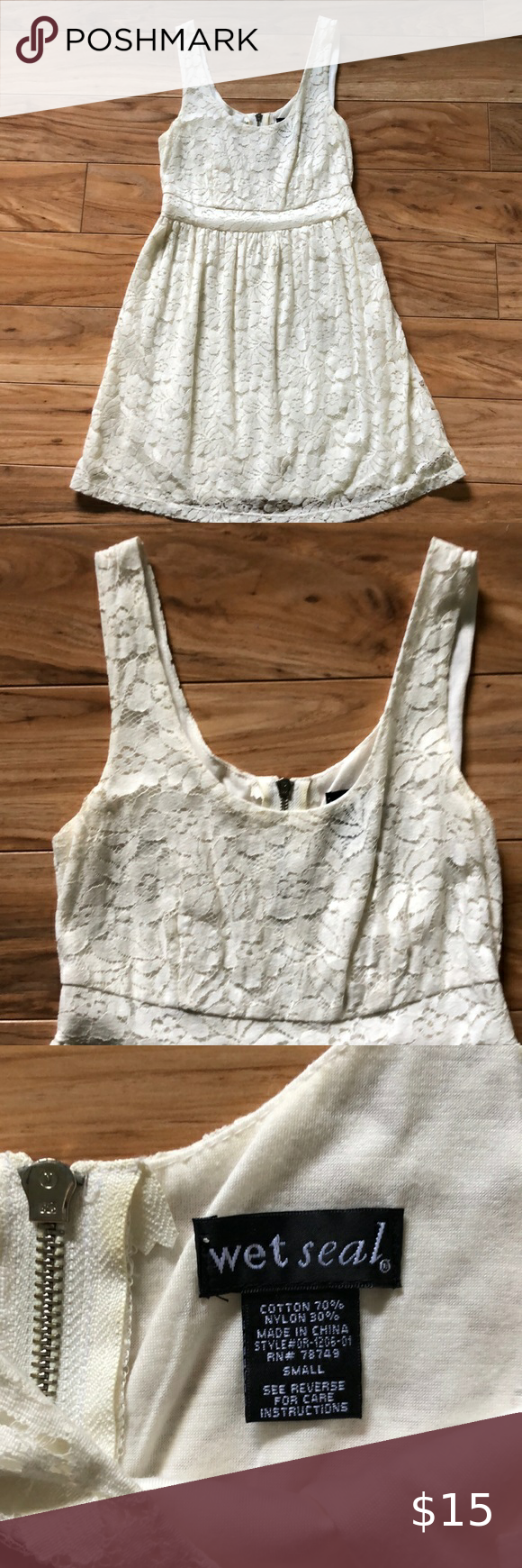 Wet Seal lace dress size small Wet Seal off white lined lace dress size small wi...