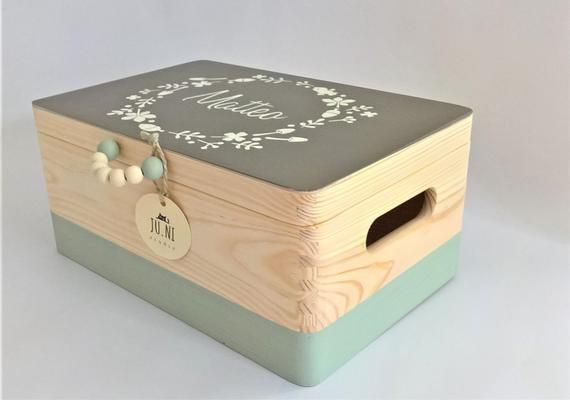 Memory box baby, wooden treasure chest, customizab - storage boxes for handicrafts